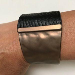 Jewelry - Black Leather w/ Bronze Tone Bracelet